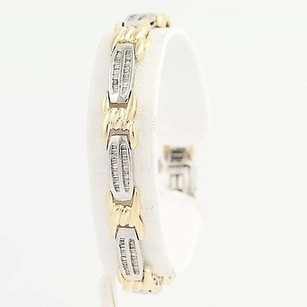 Other Diamond Tennis Bracelet 34 - 14k Yellow White Gold Baguette Cut 1.00ctw