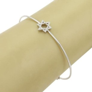 Diamonds Star Of David 14k White Gold Charm Wire Bangle Bracelet