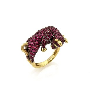 Dimensional Bull With 3.36ct Ruby Emerald Ring In 18k Gold Ring -