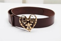 Dolce Gabbana Gold Tone Metal Logo Heart Buckle Brown Leather Belt