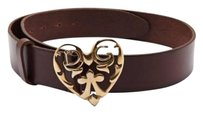 Other Dolce Gabbana Gold Tone Metal Logo Heart Buckle Brown Leather Belt