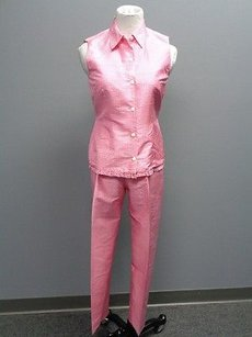 Other Donna Ricco Petite Pink White Checked Sleeveless Blouse Pant Set 4p Sm6995