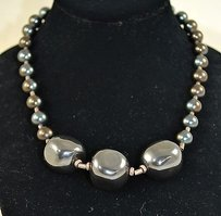 Donna Wolf Designs Sterling Silver 925 Hematite Bead Necklace
