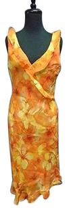 Other short dress Orange Yellow Donna Ricco York Rayon Floral Print Lined 3249a on Tradesy