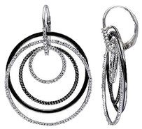 Other Sterling Silver 14 Ct Diamond Circle Round Shape Drop Leverback Earrings I3