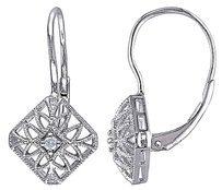 Other Sterling Silver Diamond Leverback Earrings Gh I3