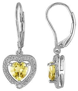 Other Sterling Silver Diamond And 1 25 Ct Citrine Heart Love Leverback Earrings I3