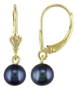 Other 10k Yellow Gold 6-6.5 Mm Black Akoya Pearl Leverback Drop Dangle Earrings