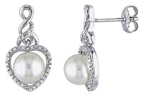 110 Ct Diamond 7-7.5 Mm White Freshwater Pearl Ear Pin Earrings Silver Gh I2i3