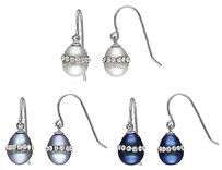 Sterling Silver 7-8 Mm White Black Grey Freshwater Rice Pearls Earrings Set