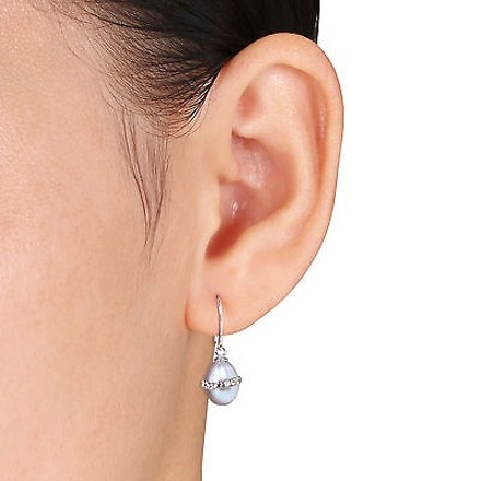 Other Sterling Silver 7-8 Mm White Black Grey Freshwater Rice Pearls Earrings Set