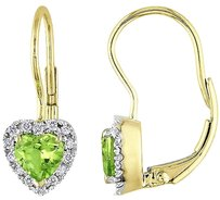 Other Amour 10k Yellow Gold Diamond And Periot Heart Love Shaped Leverback Earrings