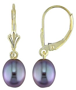 Other 10k Yellow Gold Freshwater Black Pearl Dangle Earrings 6.5-7.0 Mm