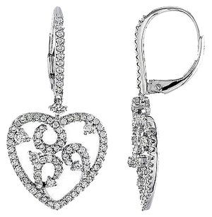 Other 14k White Gold 1 Ct Diamond Heart Love Drop Dangle Earrings Gh Si