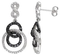 Sterling Silver 12 Ct Black White Diamond Infinity Circle Dangle Earrings I2i3