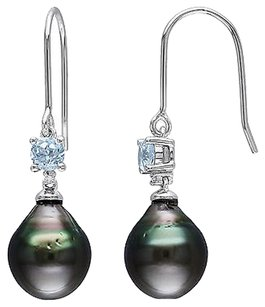 Other Silver Diamond Blue Topaz 9-10 Mm Black Tahitian Pearl Charm Earrings 0.63 Ct