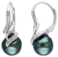 Other Sterling Silver Diamond 9-9.5 Mm Black Tahitian Pearl Swivel Leverback Earrings