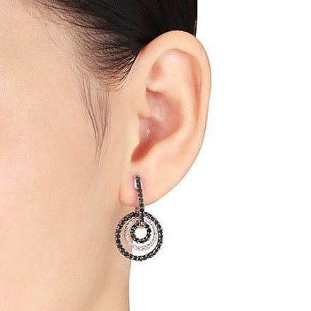 Other Sterling Silver 1 Ct Black White Diamond Circle Round Shape Drop Earrings Gh I3