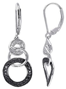 Other Sterling Silver 110 Ct Black White Diamond Heart Leverback Earrings Gh I2i3