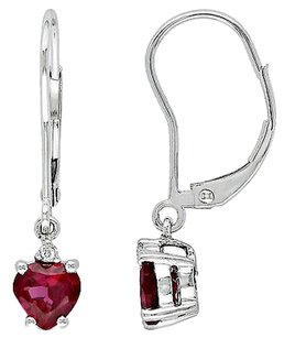 Other 10k Gold Created Ruby And Diamond Accent Heart Love Shape Earrings