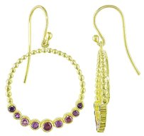 Other Yellow Silver 1 15 Ct Tgw Amethyst African And Rhodolite Dangle Earrings