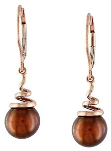 14k Pink Gold 8 - 8.5 Mm Chocolate Freshwater Pearl Spiral Leverback Earrings