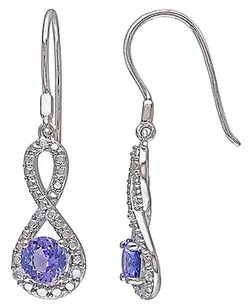 Sterling Silver 110 Ct Diamond And 1 110 Ct Tanzanite Infinity Charm Earrings