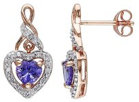 Other Pink Sterling Silver 18 Ct Diamond And 45 Ct Tanzanite Heart Love Earrings