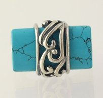 Other Dyed Howlite Cocktail Ring - 925 Sterling Silver Band Womens Fashion 12