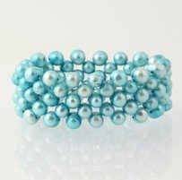 Dyed Ringed Pearl Statement Bracelet - Light Blue Stretch Band Womens 7