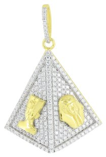Other Egyptian Pharaohs Pyramid Pendant Gold On Sterling Silver Simulated Diamond 1.8