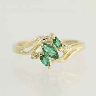 Emerald Diamond Bypass Ring - 14k Yellow Gold May Birthstone .39ctw