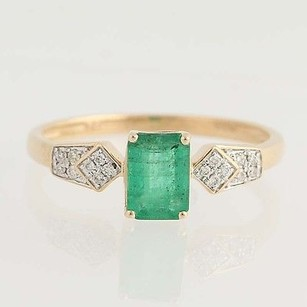 Other Emerald Diamond Ring - 14k Rose Gold May Birthstone .94ctw