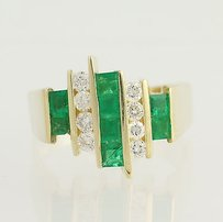Emerald Diamond Ring - 14k Yellow Gold April May Birthstones 1.16ctw