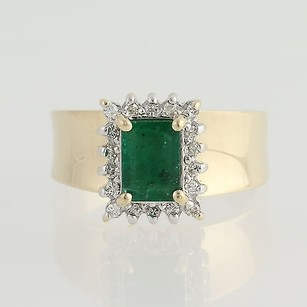 Emerald Diamond Ring - 14k Yellow White Gold May Birthstone 1.07ctw