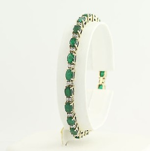Emerald Diamond Tennis Bracelet 7 - 14k Yellow White Gold May 12.98ctw
