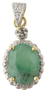 Emerald Halo Pendant - Sterling Silver 2-toned Green Oval Solitaire 2.60ct