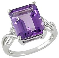 Sterling Silver Purple Amethyst Topaz Gemstone Crossover Engagement Ring 5.91 Ct