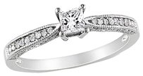 Other Sterling Silver White Sapphire Diamond Accent Engagement Ring 0.37 Tcw H-i I2-i3