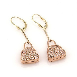 Estate 10k Rose Gold Pave Diamond Hand Bag Locket Dangle Earrings