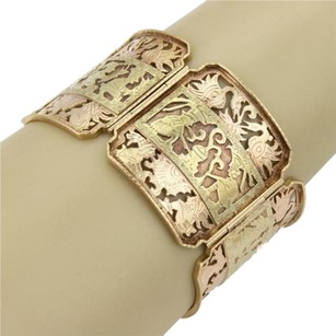 Estate 14k 22k Two Tone Gold 37mm Wide Link Intricate Design Bracelet