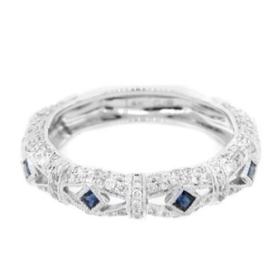 Other Estate 14k White Gold 0.66ct Diamond Blue Sapphire Ring