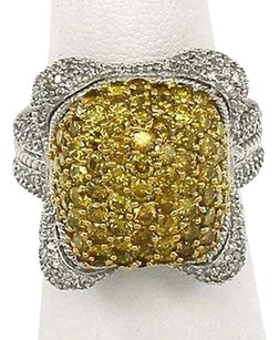 Estate 14k White Gold 3.20ctw Yellow White Diamond Floral Design Ring