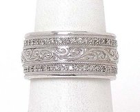 Estate 14k White Gold .60ct Diamond Scroll Design Wide Band Ring