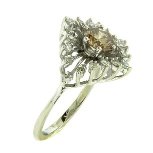 Other Estate 14k White Gold Brown Center Diamond Flower Ring 6.75