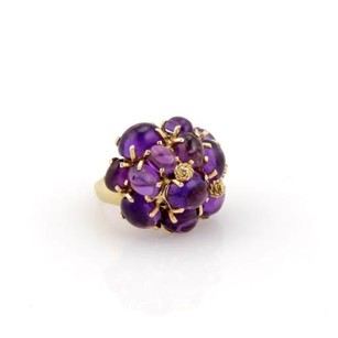 Other Estate 14k Yellow Gold Amethyst Cabochon Cluster Ring - 6.25