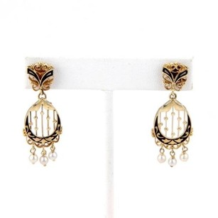 Estate 14k Yellow Gold Dangle Drop Earrings With Pearls Black Enamel