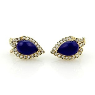 Other Estate 14k Yellow Gold Diamonds Pear Shape Lapis Stud Earrings