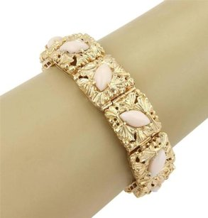 Estate 14k Yellow Gold Marquise Shape Angel Skin Coral Leaf Design Bracelet