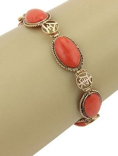 Estate 14k Yellow Gold Oriental Coral Link Bracelet
